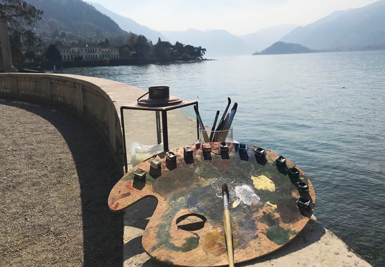 soul reflections, palette, watercolor, lake como, villa melzi ,art experience